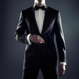Photo of stylish man in elegant black suit